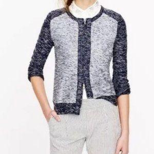 J.Crew Indigo Boucle Tweed Colorblock Jacket Small
